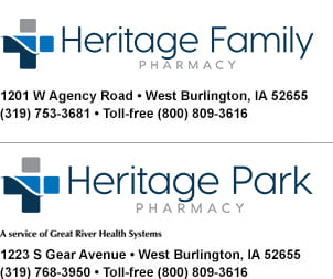 The Heritage Pharmacies serve the pharmacy needs of Burlington and West Burlington